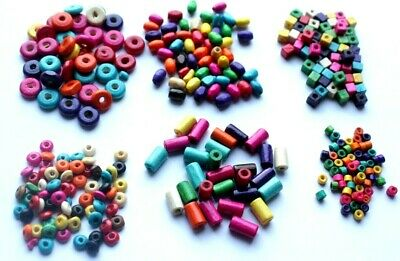 100pc Wooden Round Oval Shape Tube Disc Bright Coloured Beads Craft Kids Beading