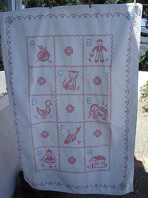 """Vintage 1940s Handmade Embroidered Baby Crib Quilt Coverlet 100% Cotton 54""""x 38"""""""