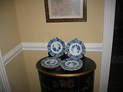 Imari Japanese Porcelain Dessert Plates 7 Blue And White Floral Euc
