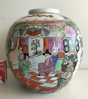 chinese pot famille rose vert hand painted ginger pot jar