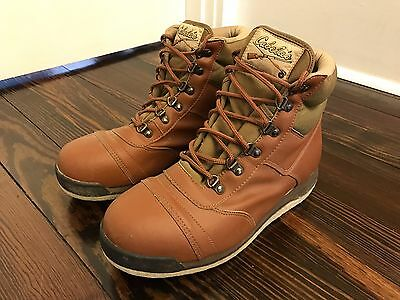 Men's Cabela's Brown Lace Up Felt Bottom Fishing Wading Boots Shoes Size 10