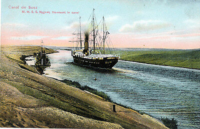 c1912 Egyptian Suez Canal M.M. S.S. Nygeer Tall Ship Tinted Postcard