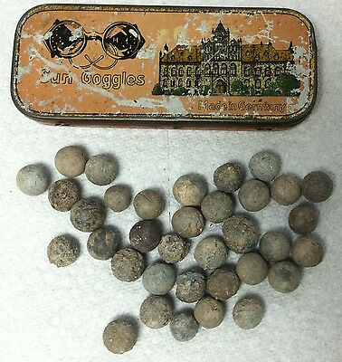 Old Tin Containing 35 Late 1700's Musket Balls Hudsons Bay Company Fur Trade