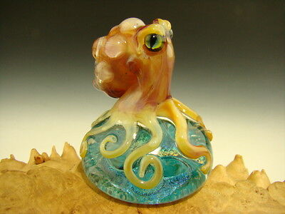 Glass Octopus on a Dichroic Paperweight Figurine by Tim Mazet Collectible