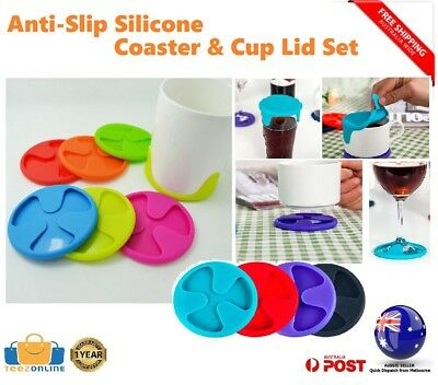 NEW Silicone Drink Coaster Set Anti-Slip Lid Cup Can Mug Wine Glass Charm Mat