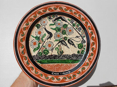 """Vintage Jose Bernabe Mexican Pottery Tonala Lg Plate Charger 11 3/4"""" Four Birds"""