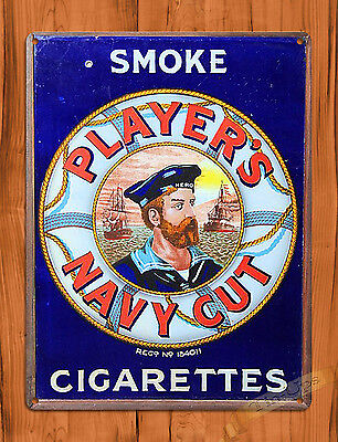 "TIN SIGN ""Player's Navy Cut"" Tobacco Rustic Cigarettes Garage Wall Decor"