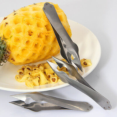 Stainless Pineapple Peeled Pliers Steel Clamp Tweezers Fruit Seed Corer Remover