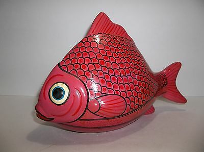 """Vintage Mexican Folk Art Pottery FISH Red PINK 10"""""""