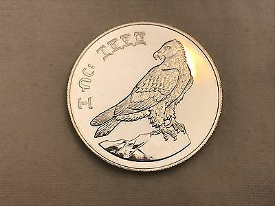 1970 Ethiopia 10 Birr Bearded Vulture Sterling Silver Coin LOW MINTAGE UNC