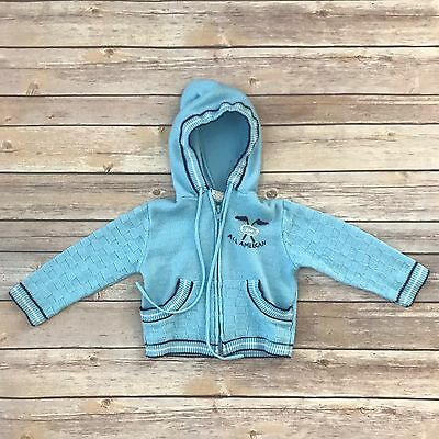 Boys Size 18m VINTAGE Blue Long Sleeved Zippered Hooded Cardigan