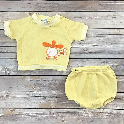 CARTER'S Boys Size 12m 2-pc VINTAGE Yellow Short Sleeved Tee Shorts Outfit