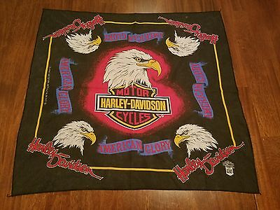 Vintage Harley Davidson American Glory Motorcycle Bandana USA Made Eagle