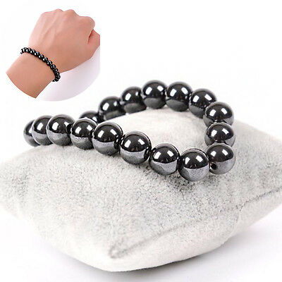 Magnetic Therapy Round Black Stone Hand Bracelet Weight Loss Unisex Gift Jewelry