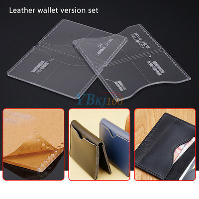 Acrylic Clear Template Handcrafting Set For Leather Wallet Pattern DIY Craft coi