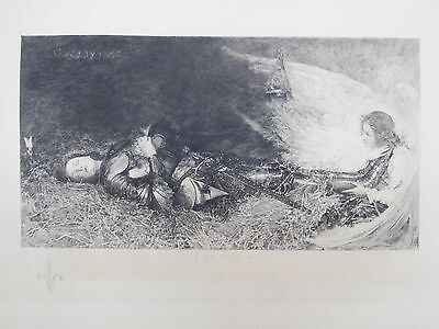 Jeanne D'Arc nach George William Joy Graphik Radierung auf Bütten nach 1895