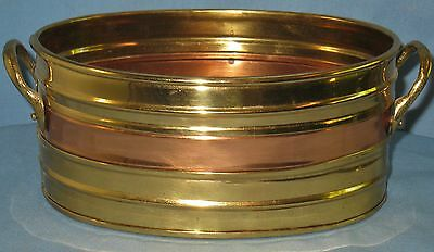 VINTAGE COLLECTIBLE OVAL COPPER & BRASS BOWL w/BRASS HANDLES CANDY CARDS LETTERS