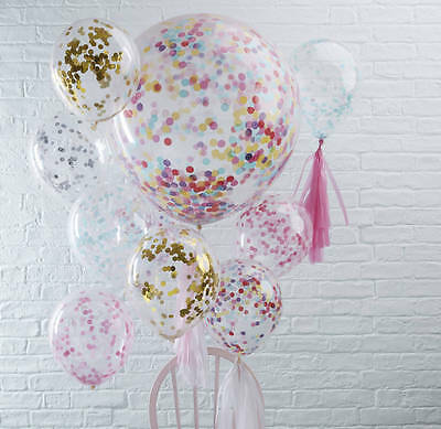 3pcs Rose Gold And White Confetti Balloons 1st Birthday Wedding Engagement