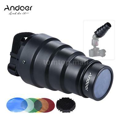 Strobe Flash Kit w/ Conical Snoot Light Modifier +50°Honeycomb Grid+Color Filter