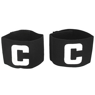 Hook Loop Closure Stretchy Team Tension Captain Armband 2pcs Black A2W8