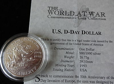 1993 SILVER PROOF USA $1 DOLLAR COIN + COA 50th ANNIVERSARY OF D-DAY