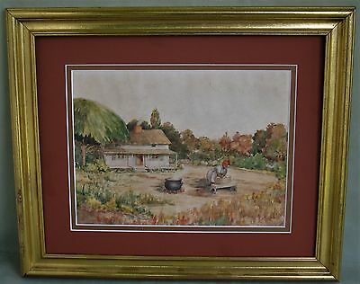 Original Framed & Double Matted Watercolor American School Of Art Unsigned