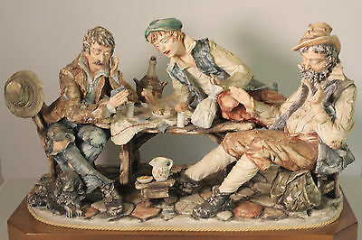 "Capodimonte  "" The Card Players, ""  La Fuente Porcelain"