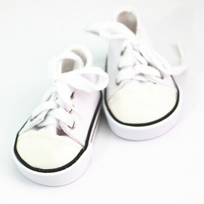Cute Doll Clothing Lace Up Sneakers Shoes for 18'' American Girl Dolls White