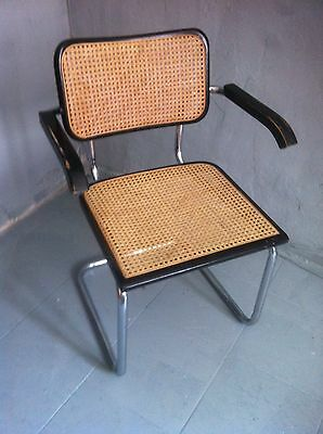 Vintage Wood & Cane Cesca B-32 Armchair by Marcel Breuer made in ITALY
