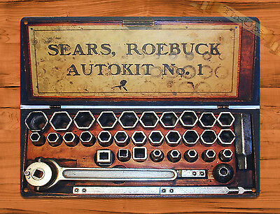 "TIN-UPS TIN SIGN ""Sears Roebuck"" Autokit Tool Garage Rustic Wall Decor"
