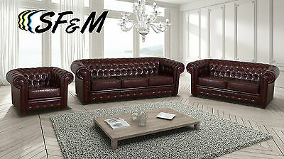 HUGE LEATHER CHESTERFIELD SOFA ARMCHAIRS in ANTIQUE BROWN BLACK 3 2 SEATERS
