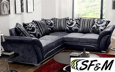 New Large Shannon Corner 5 Seater Grey/Black Fabric Faux Leather Settee Farrow