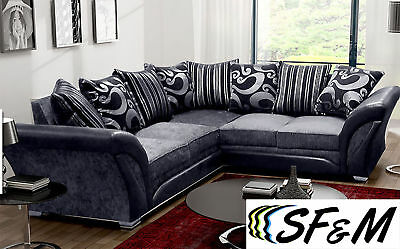 New Large Shannon Corner 5 Seater Grey/brown Fabric Faux Leather Settee Farrow