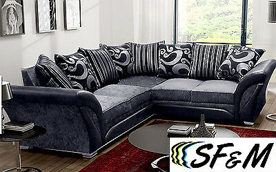 New Shannon Sofas Corner 3 2 1 Swivel Chair Seater Settee Beige Brown Grey Black