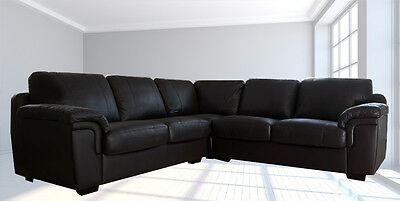 Brand New Amy Real Leather Corner Sofa or 3+2 Suite Black or Brown