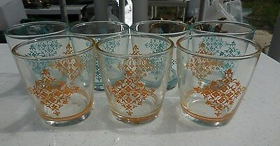7 RETRO Sour Cream Glass Tumbler Turquoise & Gold Lace Swanky Swigs
