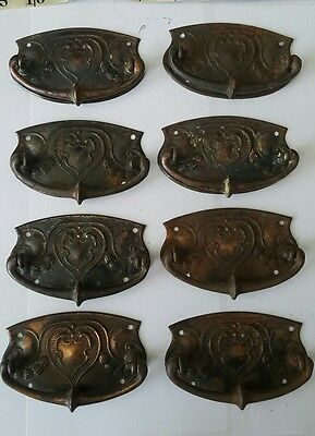 Set of 8 Art Nouveau/Arts and Crafts Drawer Handles. Architectural Salvage