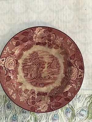 English Woods English Scenery Enoch 1784 Plate Red And White