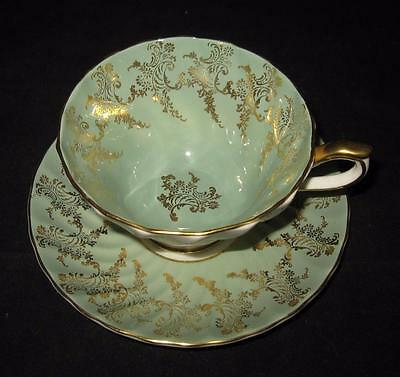 Aynsley China, England, C1990, Nile Green, Gold Trim, Swirl, Cup & Saucer Set