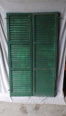 Pair Antique Window Shutters Wood Louvered Shabby Vtg Chic 72X20 206-17P