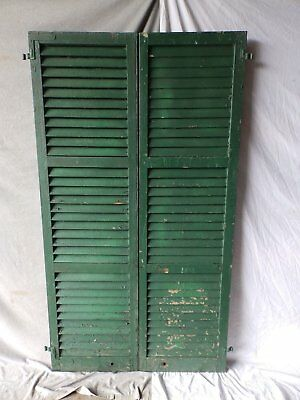 Pair Antique Window Shutters Wood Louvered Shabby Vtg Chic 72X20 207-17P