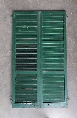 Pair Antique Window Shutters Wood Louvered Shabby Vtg Chic 72X20 210-17P