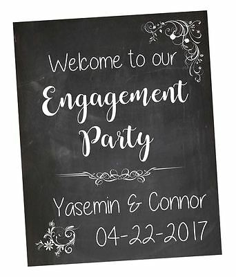 Engagement Party Welcome Sign chalkboard. Custom Engagement Party Decorations
