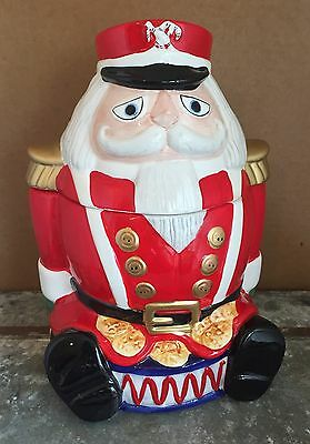 "Christmas Holiday Ceramic 10"" Nutcracker Cookie Jar by Gibson In Box"