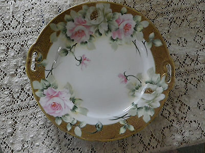 "Lovely green label NIPPON 9"" plate w/ handles Lots of gold & roses. Hand painted"