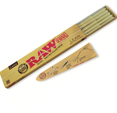 RAW Classic Natural Unrefined Pre Rolled 20 Cones Rolling Papers LEAN 110mm/4.3""