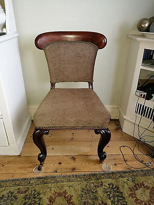 A pair of antique hardwood  dining chairs Edwardian Victorian? upholstered backs