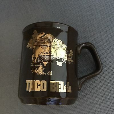 Vintage Taco Bell Coffee Mug Brown Pottery Made in England Gold Gilt Graphics