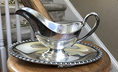 Wm Rogers Silverplate Gravy Boat w/attached Tray - Fenwick - Lovely Wedding Gift