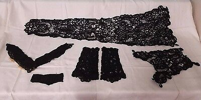 Antique Victorian 19th Century Black Handmade Lace Collar, Cuffs, and Extras!